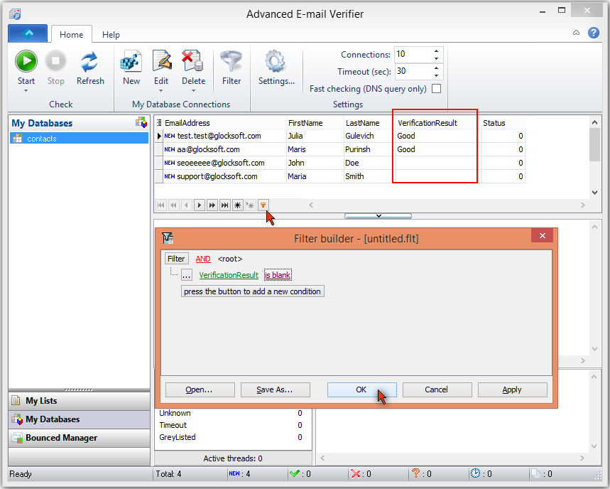 Advanced Email Verifier check new emails from database