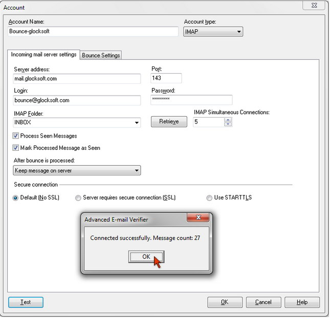 Advanced Email Verifier - IMAP server settings to process bounced emails
