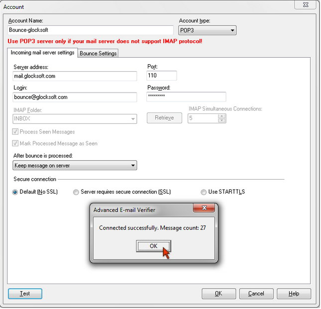 Advanced Email Verifier - POP3 account settings to process bounced emails