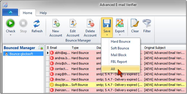Advanced Email Verifier - save bounced emails to a file