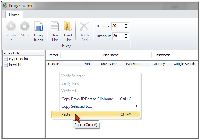 paste proxy servers from clipboard