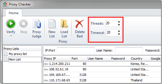 Set Threads for checking proxy servers