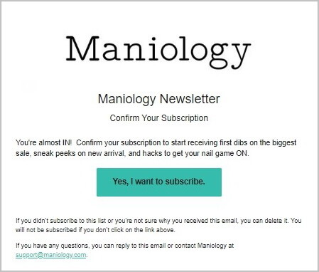 Confirmation email by Maniology