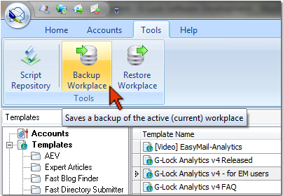 backup and restore workplace