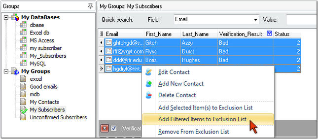 add bad emails to the exclusion list in G-Lock EasyMail
