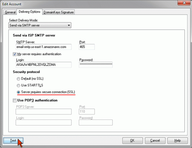 Use Amazon SES SMTP in G-Lock EasyMail