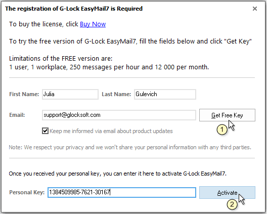 Activate demo version of G-Lock EasyMail7