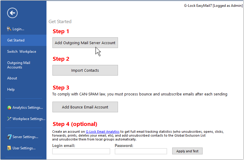 Add account in G-Lock EasyMail7