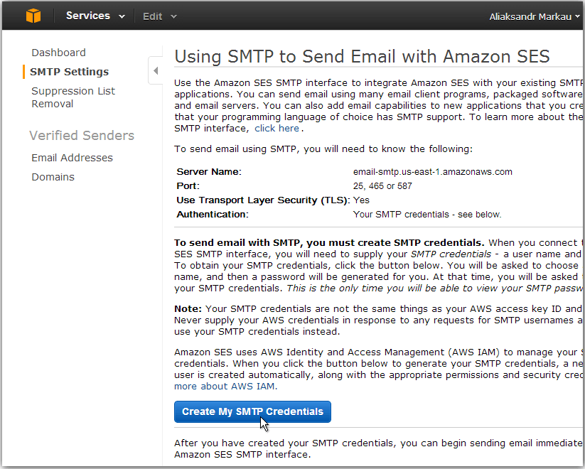 Create AWS SMTP credentials
