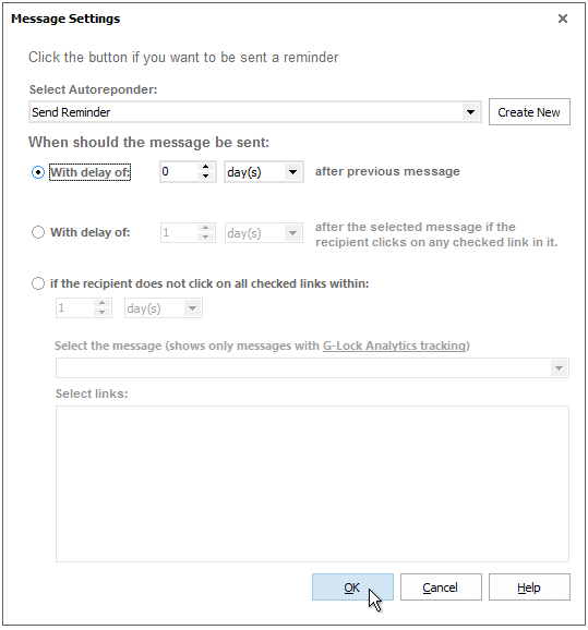 Autoresponder email settings