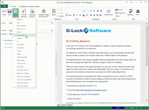 email message personalization in G-Lock EasyMail7