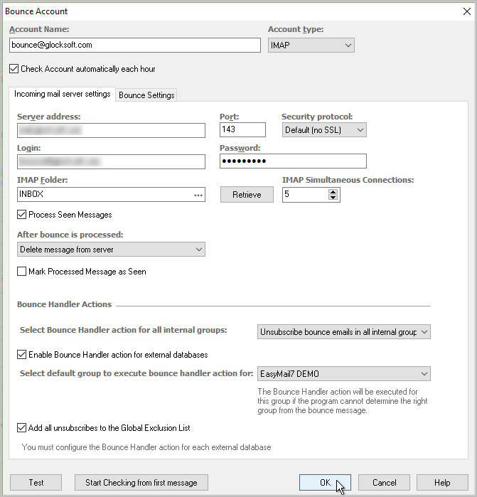 setup bounce account in G-Lock EasyMail7