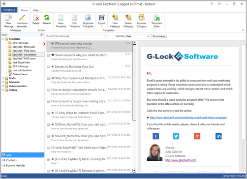 Special symbols in the message Subject in G-Lock EasyMail7