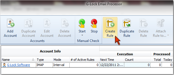 G-Lock Email Processor - create rule to process emails