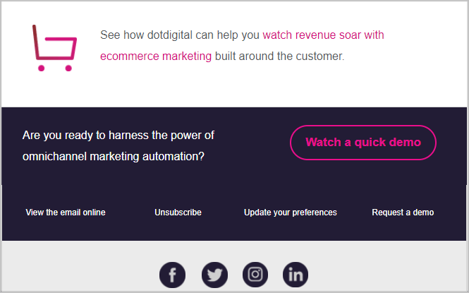 Unsubscribe link in the footer of the email by DotDigital
